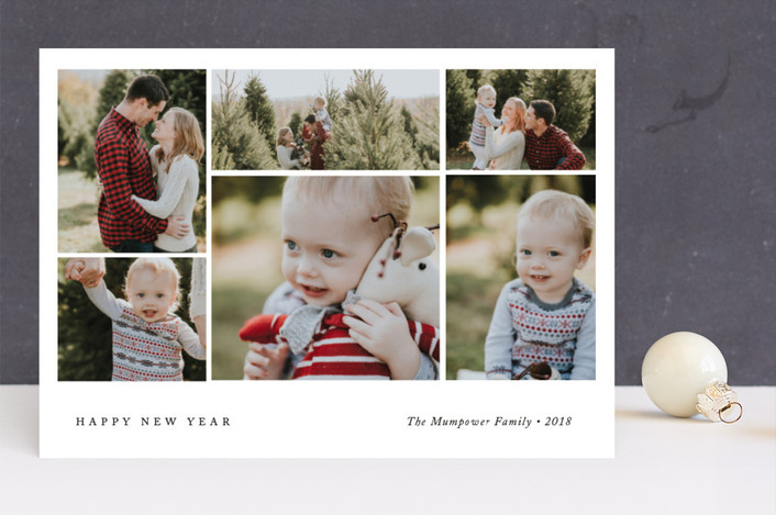 """""""Cropped Collage"""" - Holiday Photo Cards in Tuxedo by That Girl Press."""