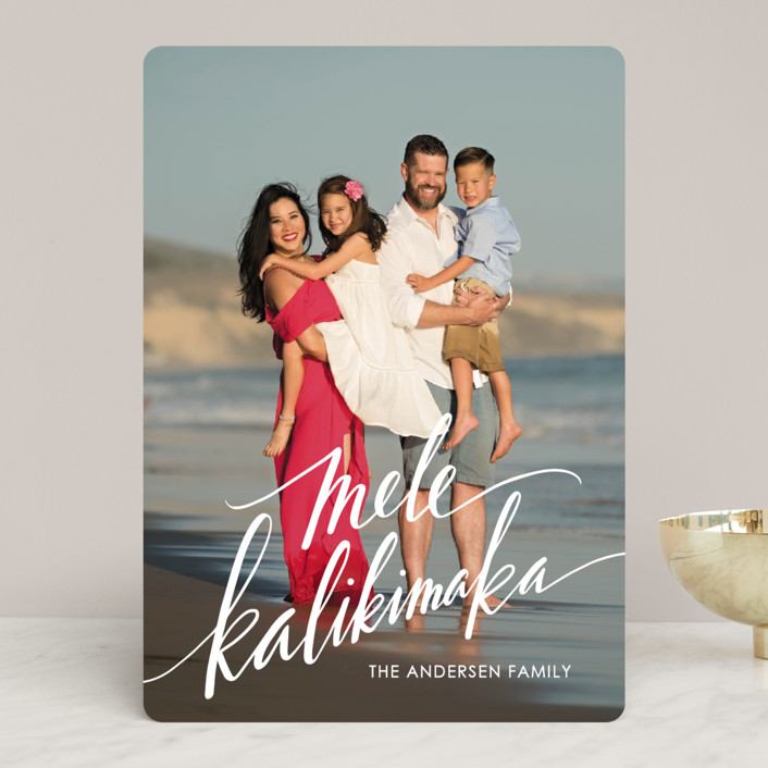 """Modern Mele Kalikimaka"" - Holiday Photo Cards in Snow by Jamie Schultz Designs."