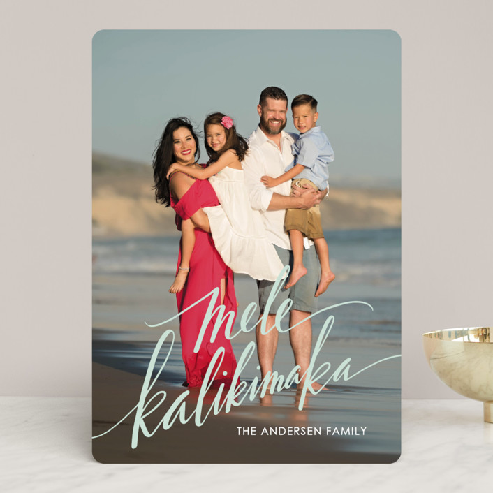 """Modern Mele Kalikimaka"" - Holiday Photo Cards in Mint by Jamie Schultz Designs."