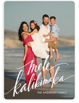 This is a white holiday photo card by Jamie Schultz Designs called Modern Mele Kalikimaka with standard printing on smooth signature in standard.