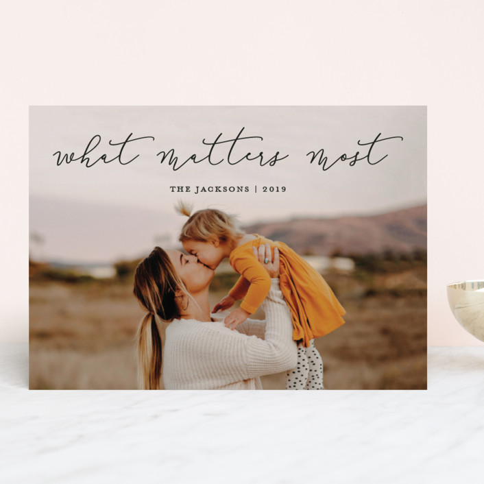 """What Matters Most"" - Holiday Photo Cards in Noir by annie clark."