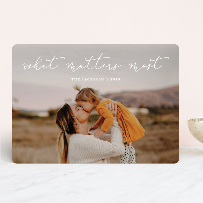 """What Matters Most"" - Holiday Photo Cards in Winter by annie clark."
