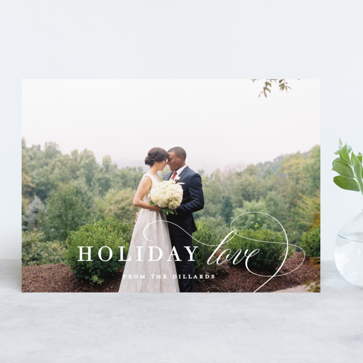 """""""Holiday Love From Us"""" - Holiday Photo Cards in Cotton by Kimberly FitzSimons."""