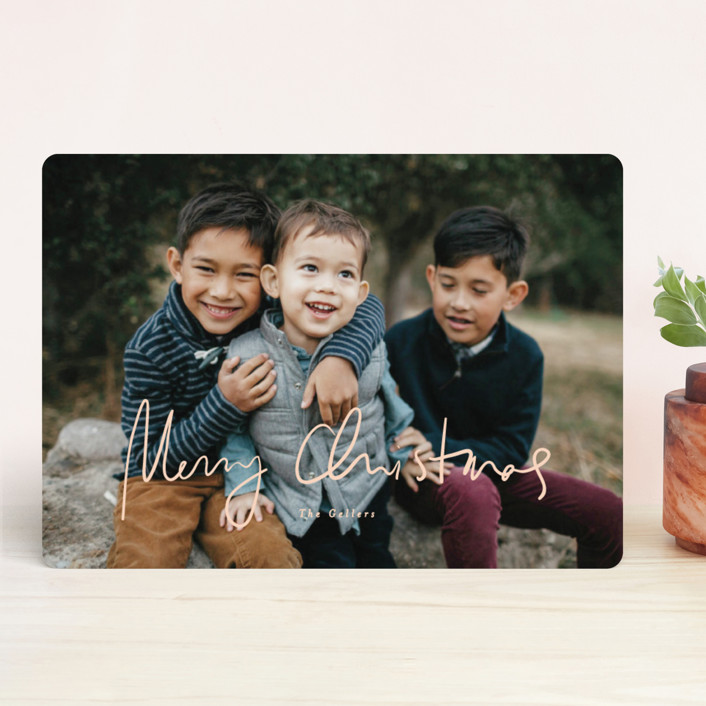 """tres leches"" - Holiday Photo Cards in Peach by chocomocacino."