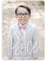 This is a white holiday photo card by Snow and Ivy called Elemental Peace with standard printing on signature in standard.