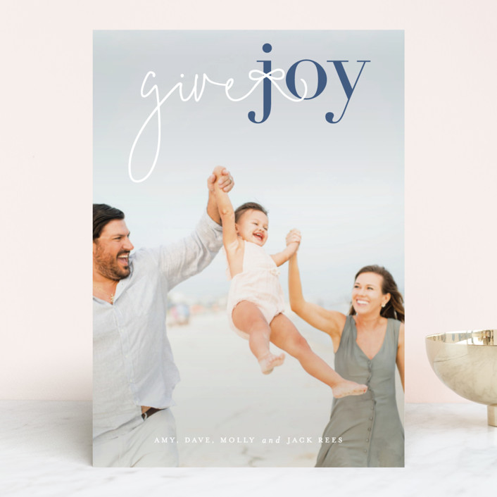 """""""Give Joy"""" - Holiday Photo Cards in Winter Sky by Sara Hicks Malone."""