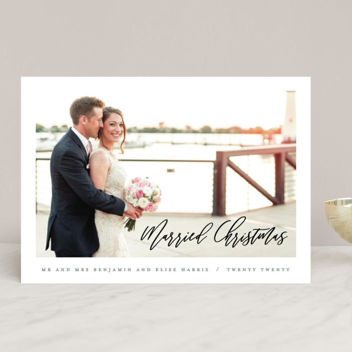 """""""Married Christmas Script"""" - Holiday Photo Cards in Slate by Hooray Creative."""