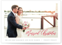 This is a red holiday photo card by Hooray Creative called Married Christmas Script with standard printing on smooth signature in standard.