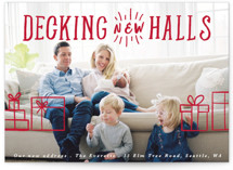 This is a red holiday photo card by Hudson Meet Rose called Decking New Halls with standard printing on smooth signature in standard.