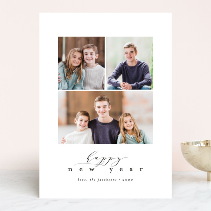 """Simple Modern"" - Holiday Photo Cards in Stone by peony papeterie."