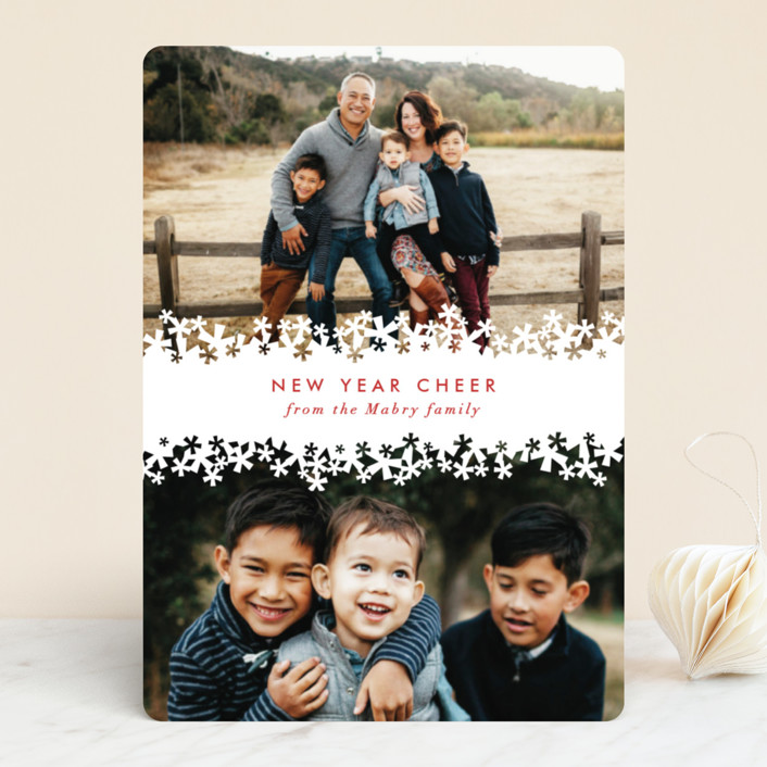 """Paper Cut Snow"" - Vintage Holiday Photo Cards in Snow by Laura Hankins."