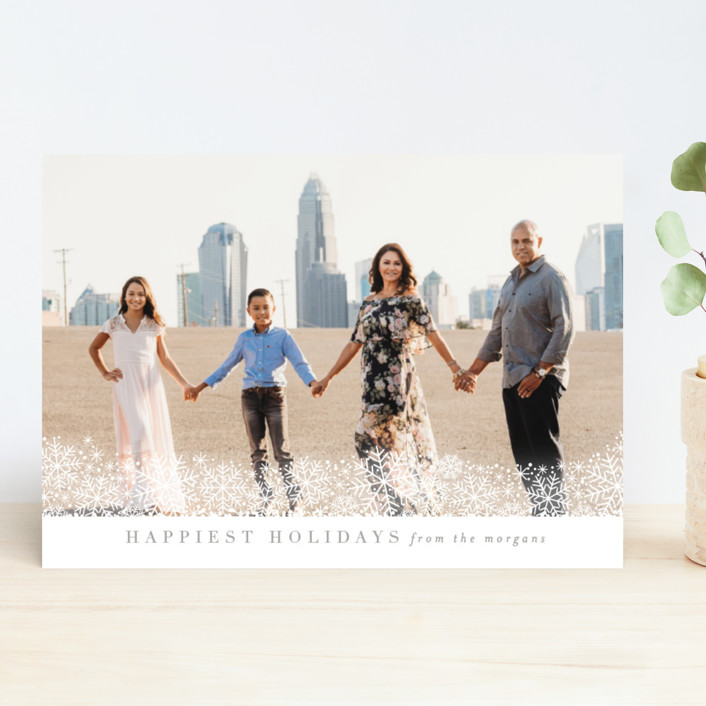 """Fresh Snow"" - Holiday Photo Cards in Platinum by Kristie Kern."
