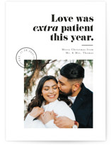 This is a white holiday photo card by Pink House Press called Extra Patient with standard printing on smooth signature in standard.