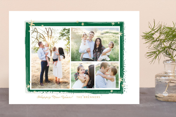 """Paint Splash Frame"" - Holiday Photo Cards in Evergreen by Itsy Belle Studio."