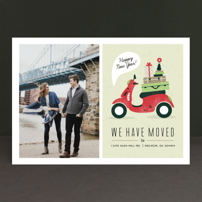 """Mod Move"" - Modern, Bold typographic Holiday Photo Cards in Evergreen by Kristen Smith."