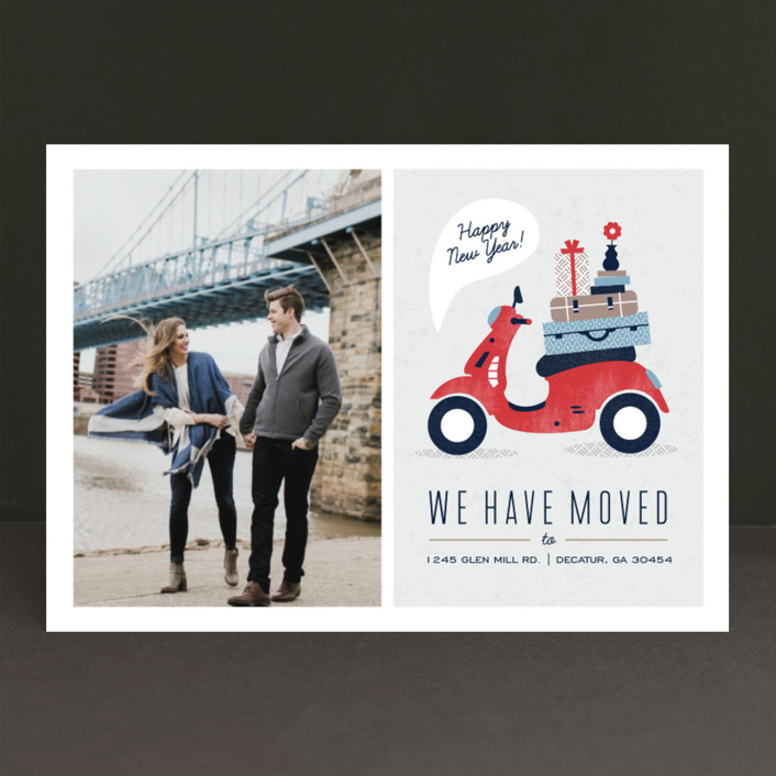 """""""Mod Move"""" - Holiday Photo Cards in Evergreen by Kristen Smith."""