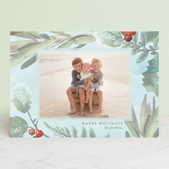 """Pastel Holly"" - Bohemian Holiday Photo Cards in Blush by Baumbirdy."