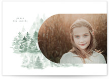 This is a white holiday photo card by Phrosne Ras called snow mountains with standard printing on doublethick in standard.