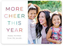 This is a colorful holiday photo card by Lori Wemple called More cheer with standard printing on signature in standard.