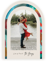 This is a beige holiday photo card by Creo Study called Festive arch with standard printing on pearlescent in standard.