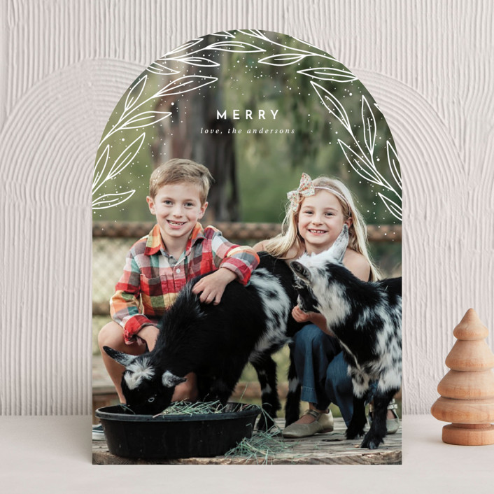 """""""Merrily Merry Arch"""" - Holiday Photo Cards in Snowflake by Kann Orasie."""