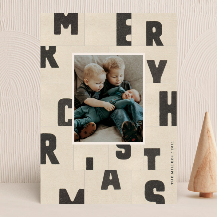 """""""christmas typography"""" - Holiday Photo Cards in Paper by Sumak Studio."""
