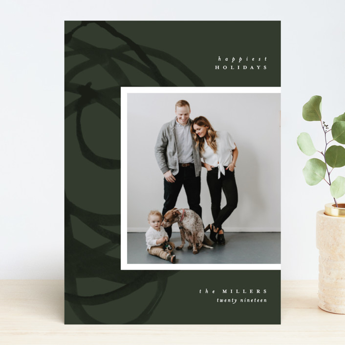 """Organic Holiday"" - Modern Holiday Photo Cards in Evergreen by Pixel and Hank."