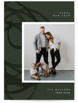 This is a green holiday photo card by Pixel and Hank called Organic Holiday with standard printing on smooth signature in standard.