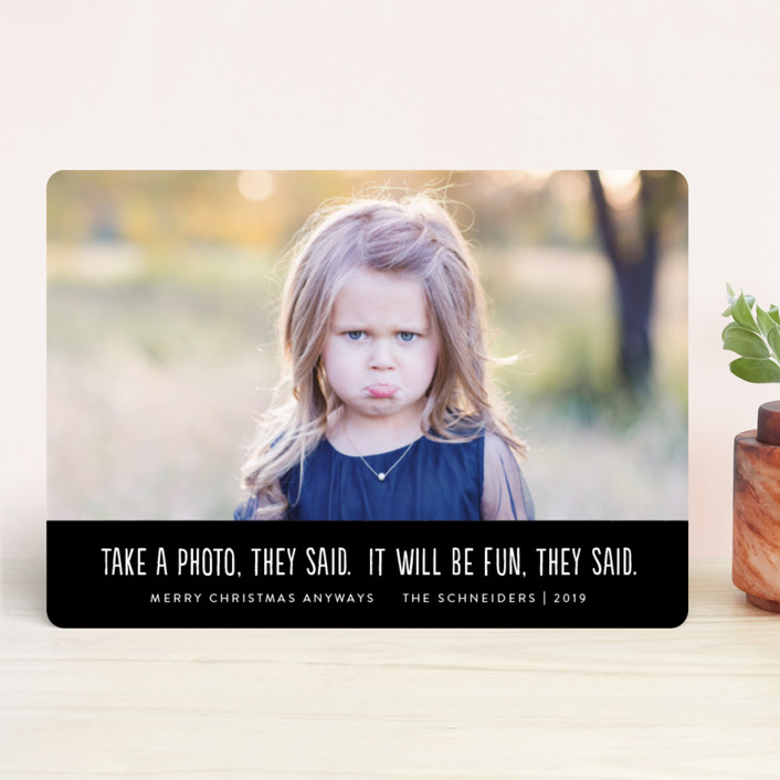 """They Said"" - Funny Holiday Photo Cards in Coal by Jackie Crawford."