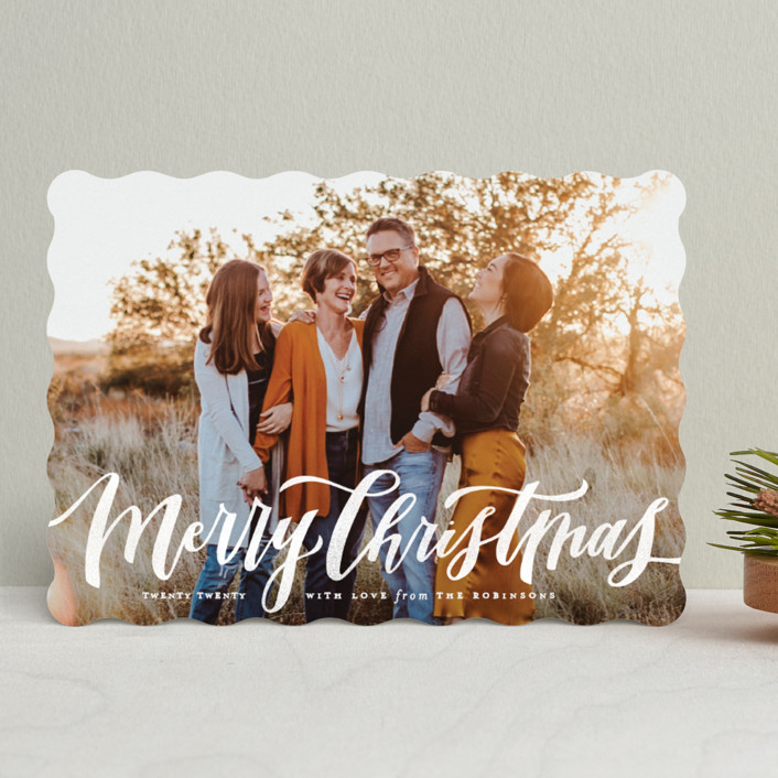 """""""Wonderfully Merry"""" - Holiday Photo Cards in Snow Berries by Wildfield Paper Co."""