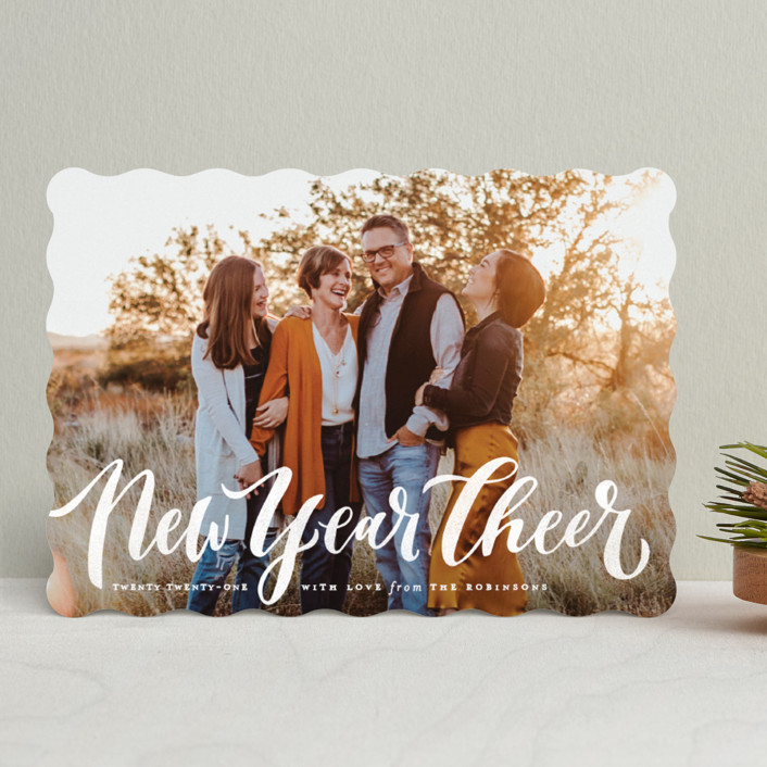 """""""Wonderfully Merry"""" - Full-Bleed Photo, Vintage Holiday Photo Cards in Snow Berries by Wildfield Paper Co.."""