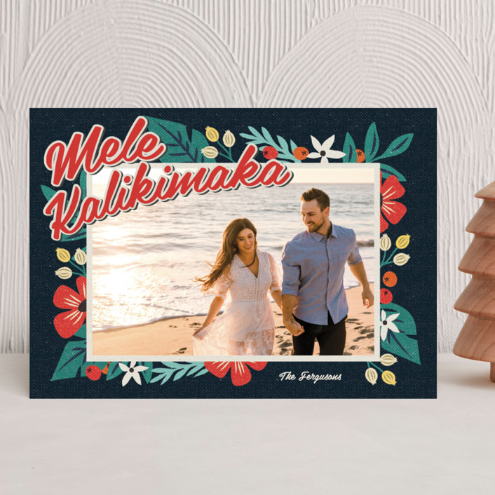 """Bold Tropic Florals"" - Holiday Photo Cards in Midnight by Coco and Ellie Design."