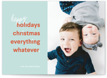 This is a green holiday photo card by Kimberly Chow called Happy Whatever with standard printing on smooth signature in standard.