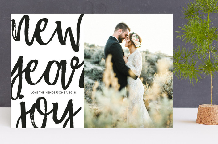 """HolidayXL Script"" - Modern Holiday Photo Cards in Noir by chica design."