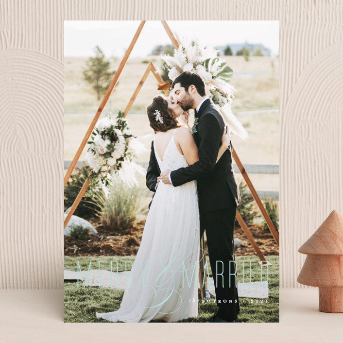 """""""Merry and Married"""" - Holiday Photo Cards in Snow by Roxy Cervantes."""