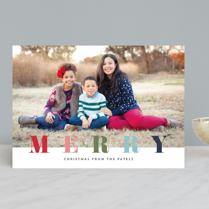 """multi merry"" - Holiday Photo Cards in Raspberry by Stacey Meacham."