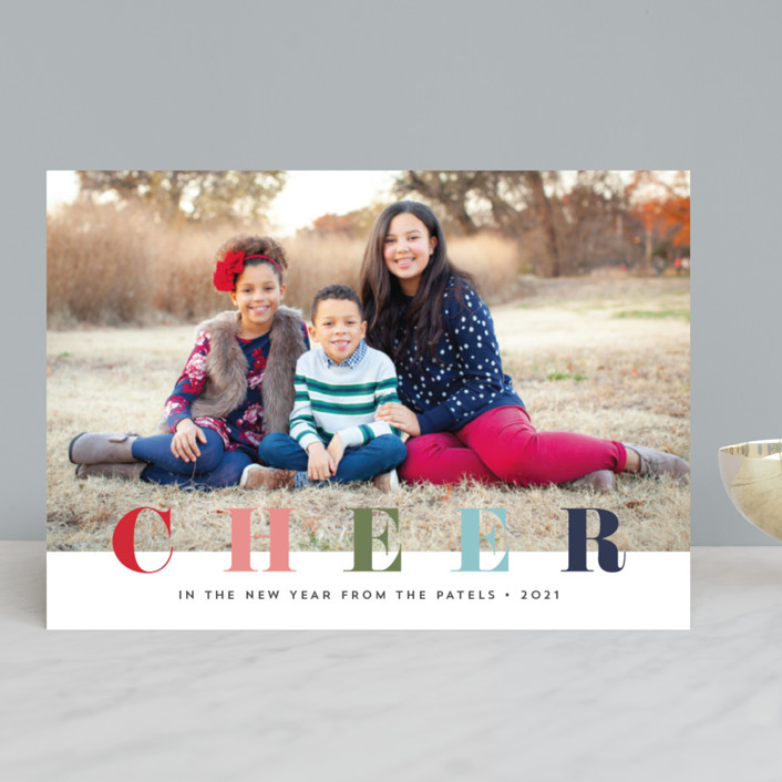 """""""multi merry"""" - Holiday Photo Cards in Raspberry by Stacey Meacham."""