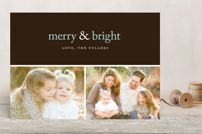 """Merry & Bright Holiday Delight"" - Modern Holiday Photo Cards in Chocolate by emily elizabeth stationery."