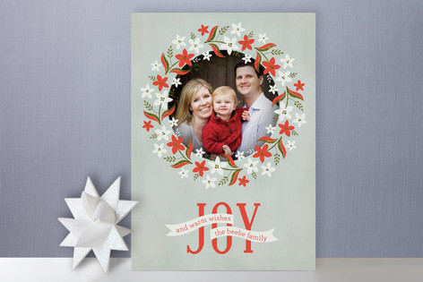 Weathered Wreath Holiday Photo Cards
