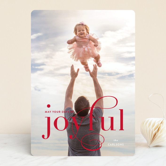 """Joyful Days"" - Holiday Photo Cards in Garnet by Kimberly FitzSimons."