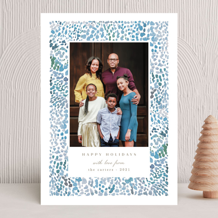 """""""Holiday splatter"""" - Modern Holiday Photo Cards in Blue Jay by Creo Study."""