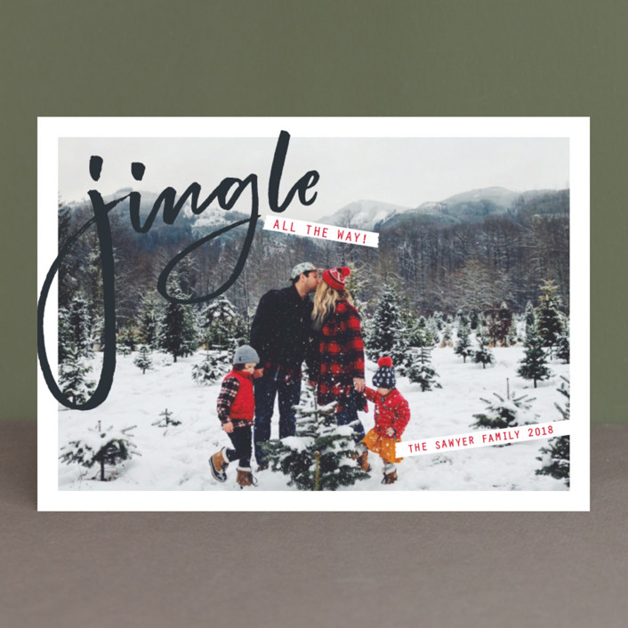 """""""Jingle"""" - Modern Holiday Photo Cards in Charcoal by Erin German Design."""