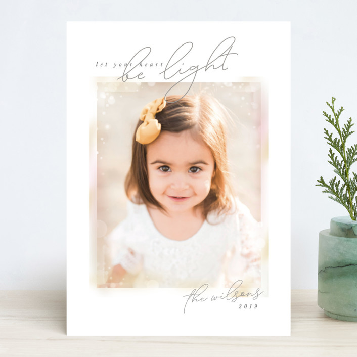 """""""Bokeh Frame"""" - Bohemian Holiday Photo Cards in Snow by Robert and Stella."""