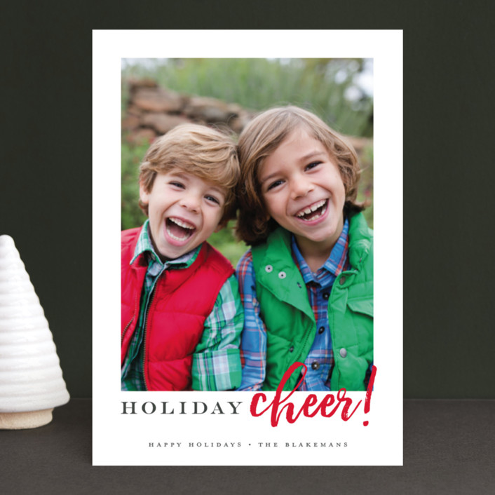 """Best Ever"" - Holiday Photo Cards in Cardinal by Jessica Williams."