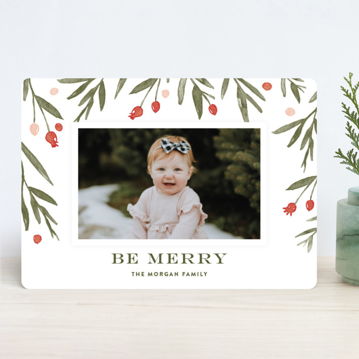 """""""Winter Harvest"""" - Holiday Photo Cards in Berry Red by Oscar & Emma."""