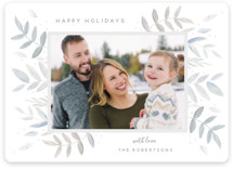 This is a grey holiday photo card by Jennifer Holbrook called Leaves in Winter with standard printing on smooth signature in standard.