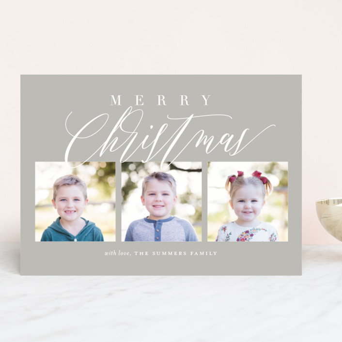 """Scripted Trio"" - Holiday Photo Cards in Navy by Jessica Williams."
