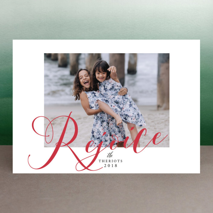 """We are so Merry"" - Holiday Photo Cards in Poinsettia by Benita Crandall."