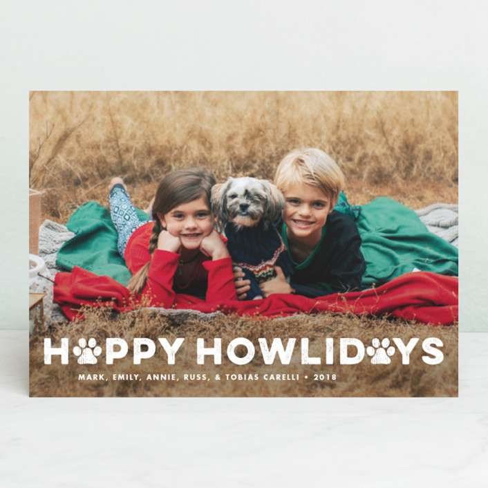"""Howliday Paws"" - Holiday Photo Cards in Snow by Paper and Parcel."