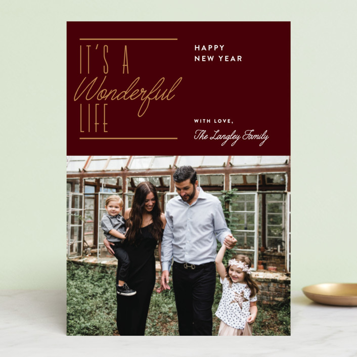 """""""Wonderful Christmas"""" - Holiday Photo Cards in Maroon by Jennifer Lew."""